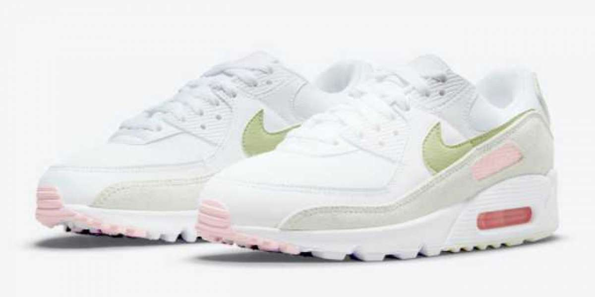 Nike Wmns Air Max 90 White/Light Olive-Light Pink For Sale DM2874-100